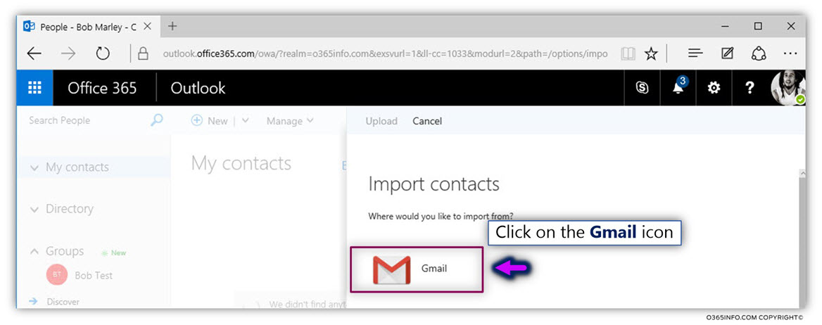 Import google contacts from CSV file UTF8 format – OWA - Office 365 -03