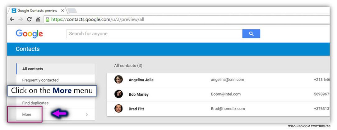 Export google contacts -00
