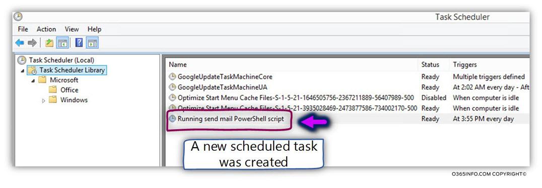 Running send mail PowerShell script using windows task scheduler -08