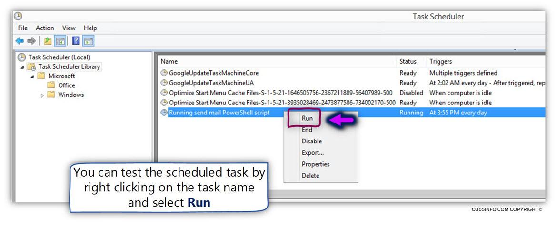 Running send mail PowerShell script using windows task scheduler -09