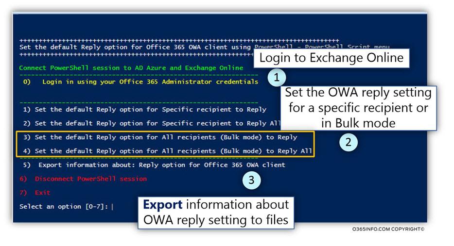 Using the OWA reply setting PowerShell script -01