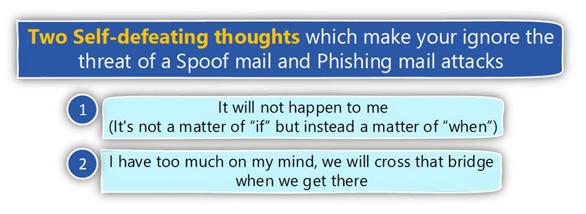 Two Self-defeating thoughts which make you ignore the threat of a Spoof mail and Phishing mail attacks