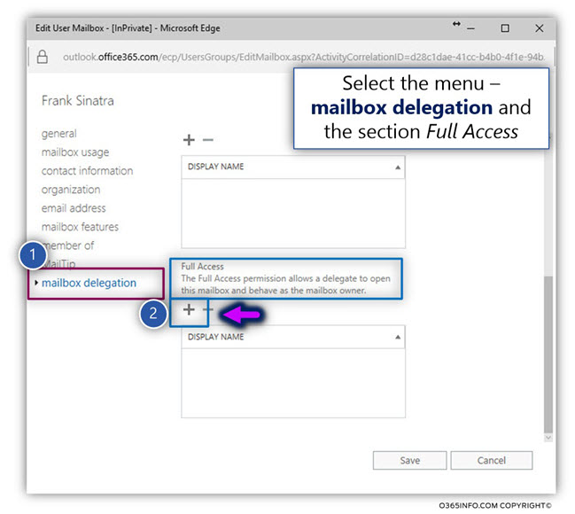 Assign Full access permissions to Exchange Online mailbox -02