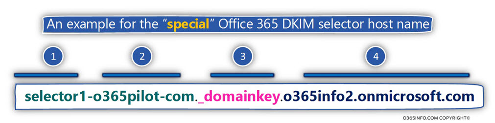 An example for the special Office 365 DKIM selector host name -04