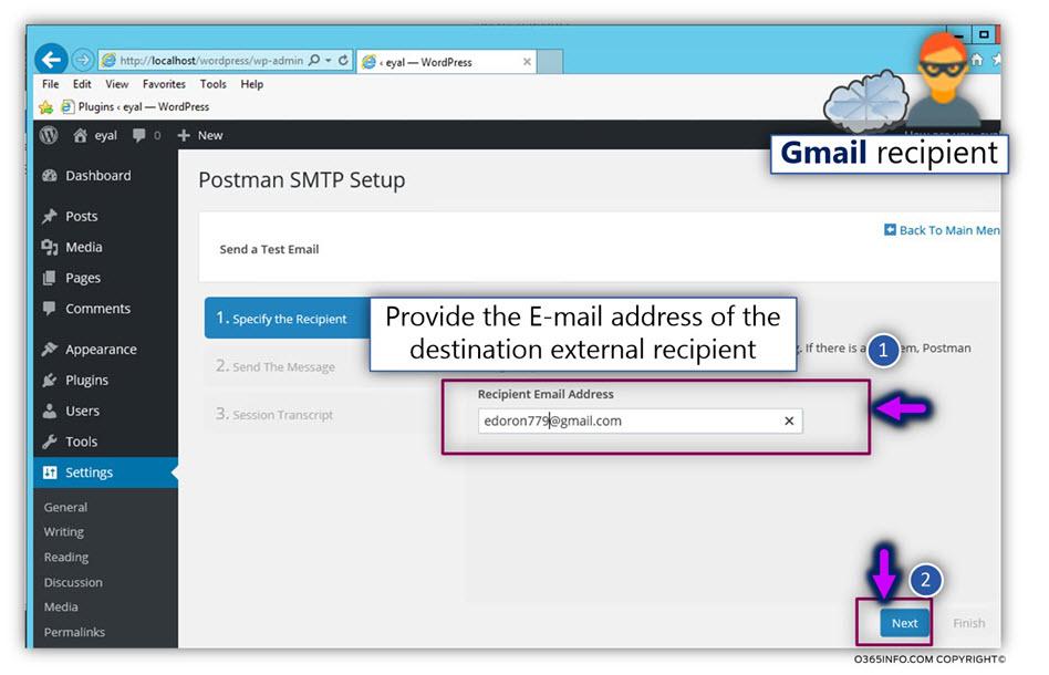 Send test E-mail external recipient - WordPress send E-mail via Exchange Online Office 365 -TLS -02