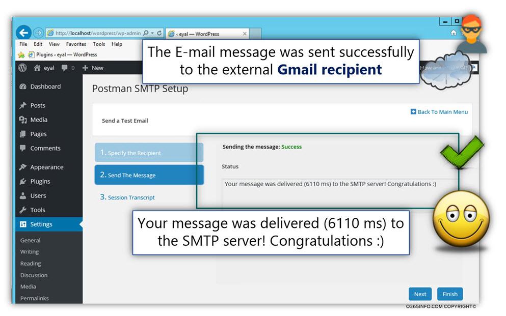 Send test E-mail external recipient - WordPress send E-mail via Exchange Online Office 365 -TLS -03
