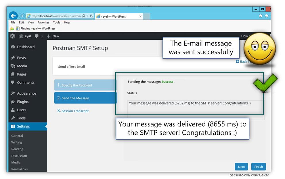 Send test E-mail organization recipient - WordPress send E-mail via Exchange Online Office 365 -TLS -03