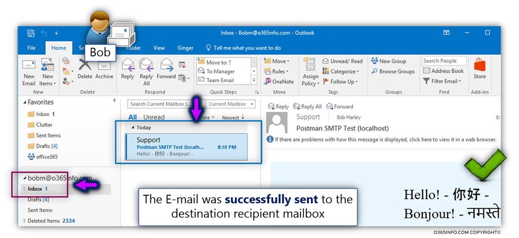 Send test E-mail organization recipient - WordPress send E-mail via Exchange Online Office 365 -TLS -04
