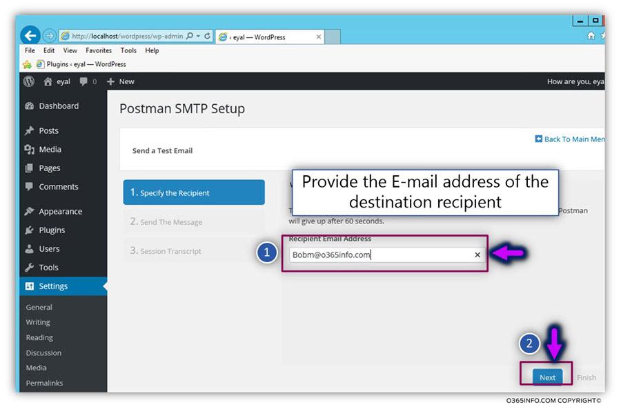 Send test E-mail organization recipient - WordPress send E-mail via Godaddy -SMTP -02