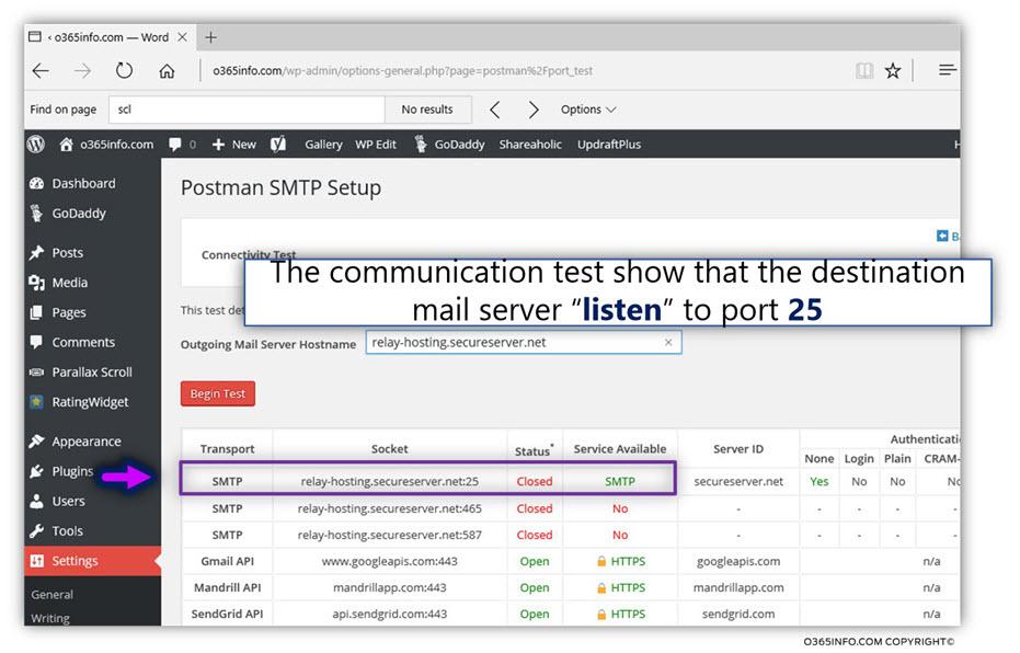 WordPress address SMTP mail server – GoDaddy -Postman SMTP Mailer -implementing Connectivity Test-mail -03