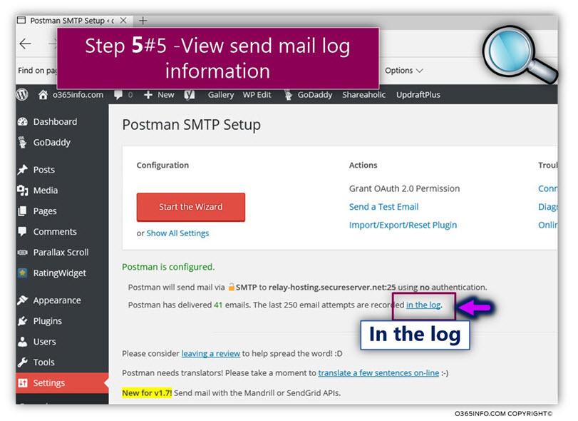 WordPress address SMTP mail server – GoDaddy Postman SMTP Mailer -view SMTP session Log -mail -01