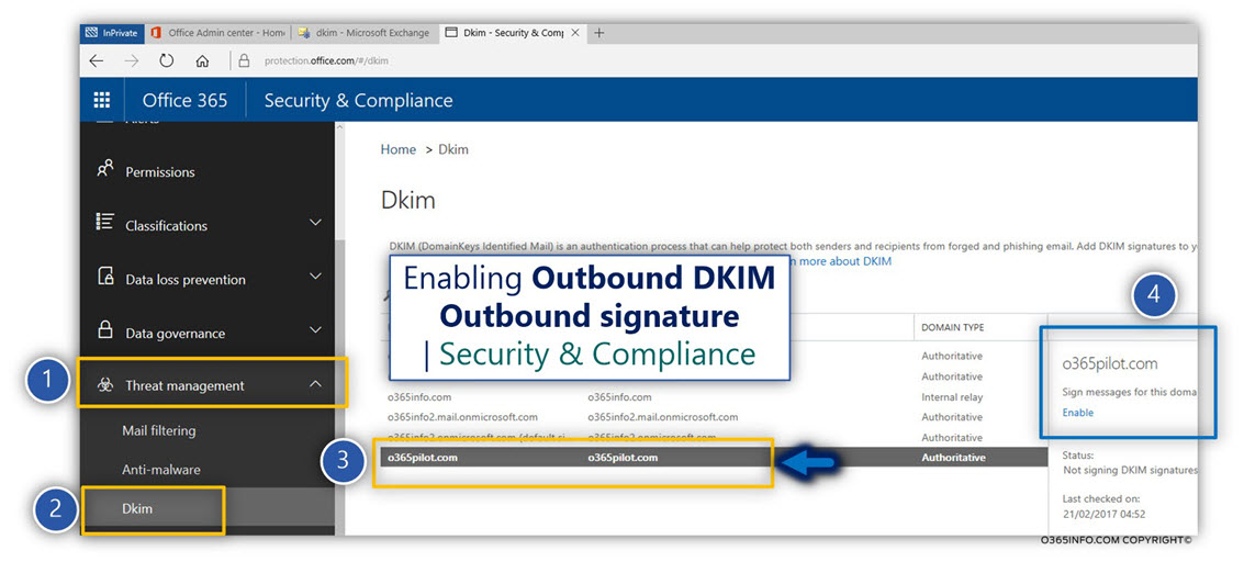 Activating the option of Outbound DKIM signing in Office 365 -04