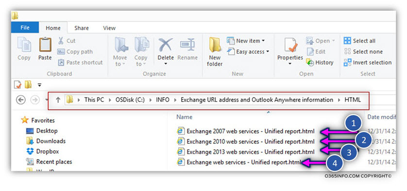 HTML report by Exchange server version