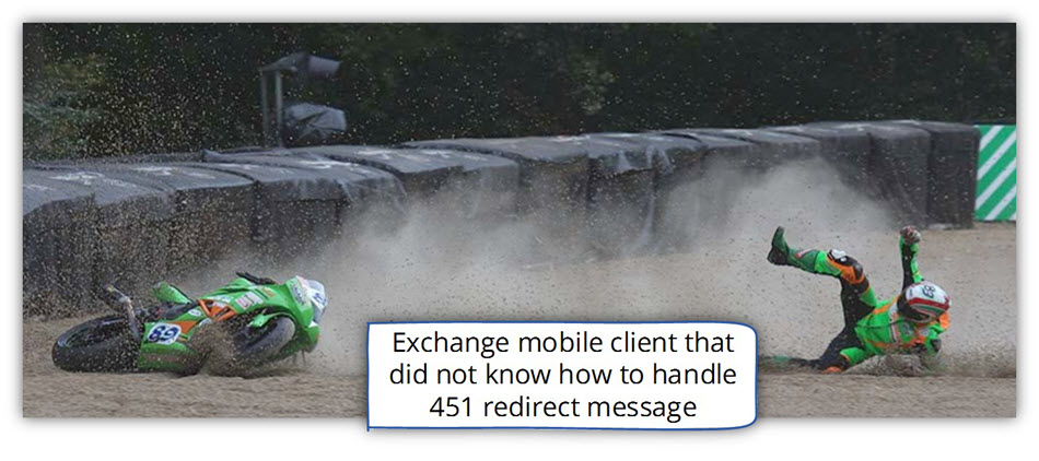 Mobile client that did not know how to handle 451 redirect message
