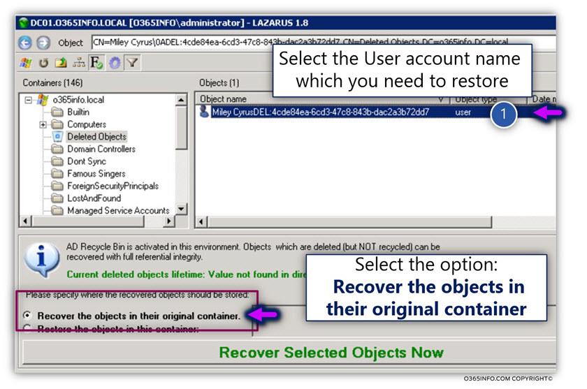 Restoring Active Directory user account using LEX – the LDAP explorer -03