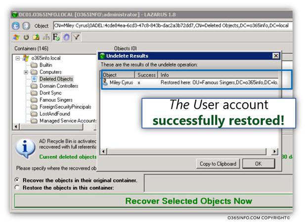 Restoring Active Directory user account using LEX – the LDAP explorer -04