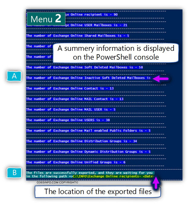 Menu 3 - Export information about - Exchange Online recipients grouped by recipient type --01