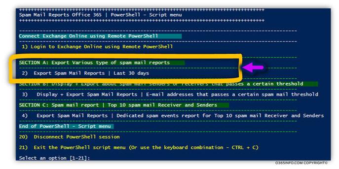 Spam mail report PowerShell script menu11