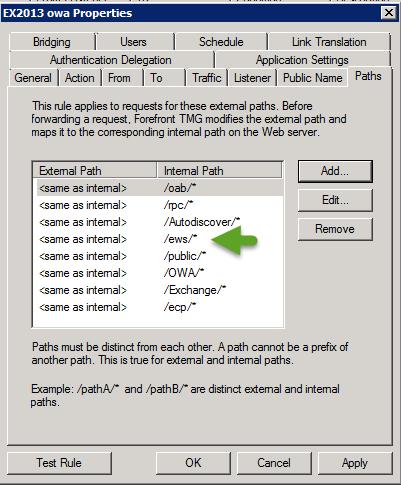 ISA-TMG Web publishing rule for the Exchange on-Premises server -001