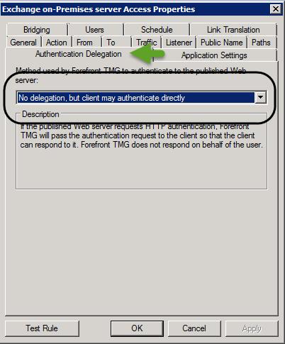 ISA-TMG Web publishing rule for the Exchange on-Premises server - Authentication settings