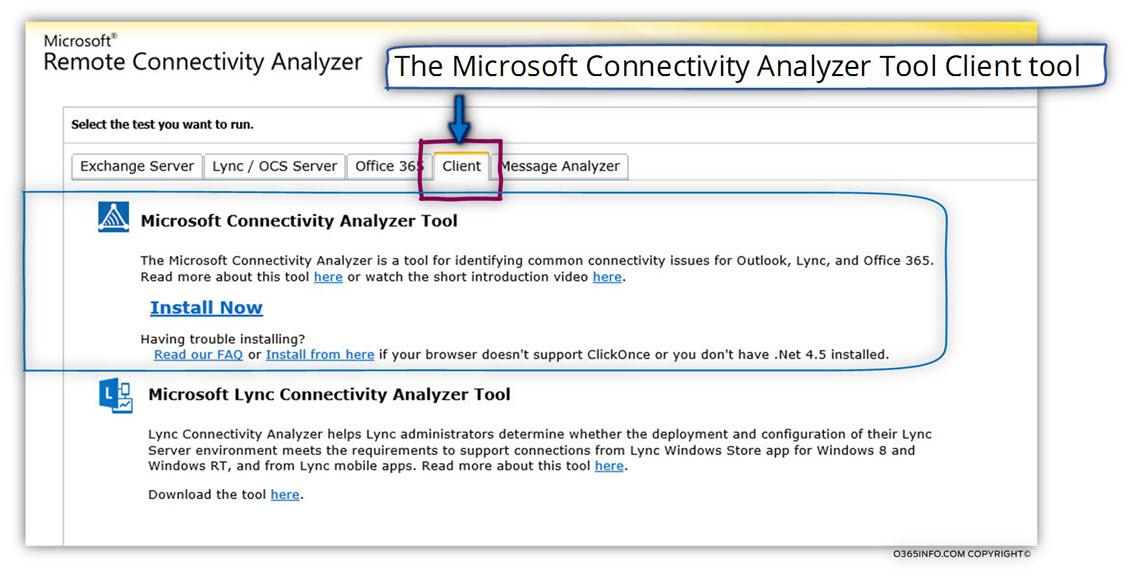 Microsoft Connectivity Analyzer client