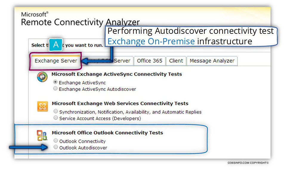 Performing Autodiscover connectivity test Exchange On-Premise infrastructure -01