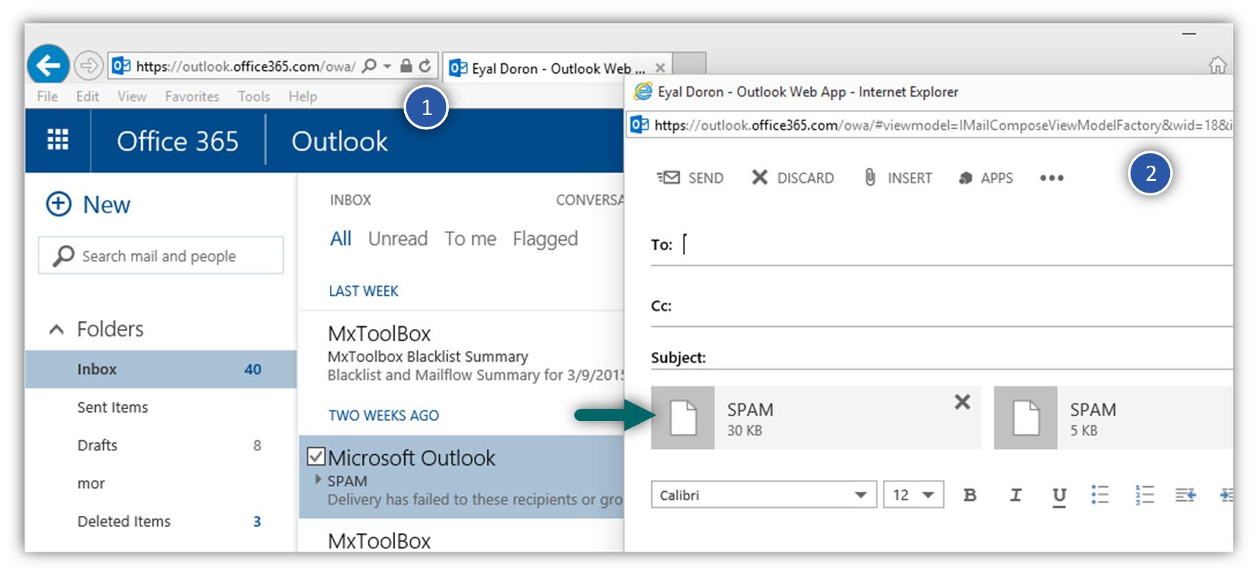 Sending E-mail as attachment using OWA -02