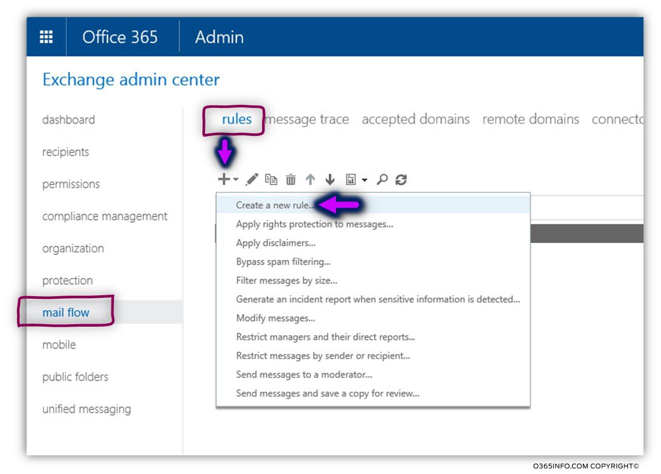Creating an Exchange Online TLS transport rule -01
