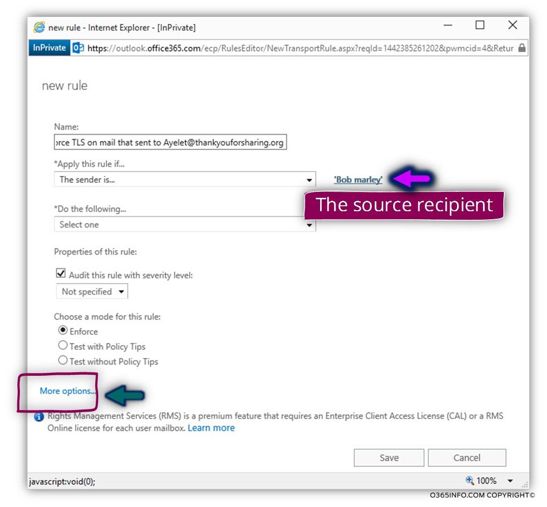 Creating an Exchange Online TLS transport rule -04