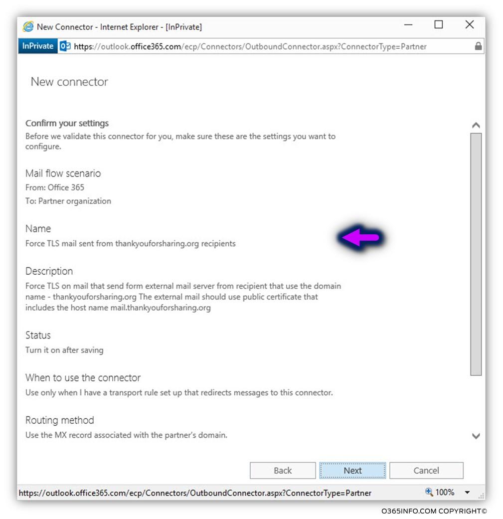 Creating a custom force TLS - Exchange Online send connector -07