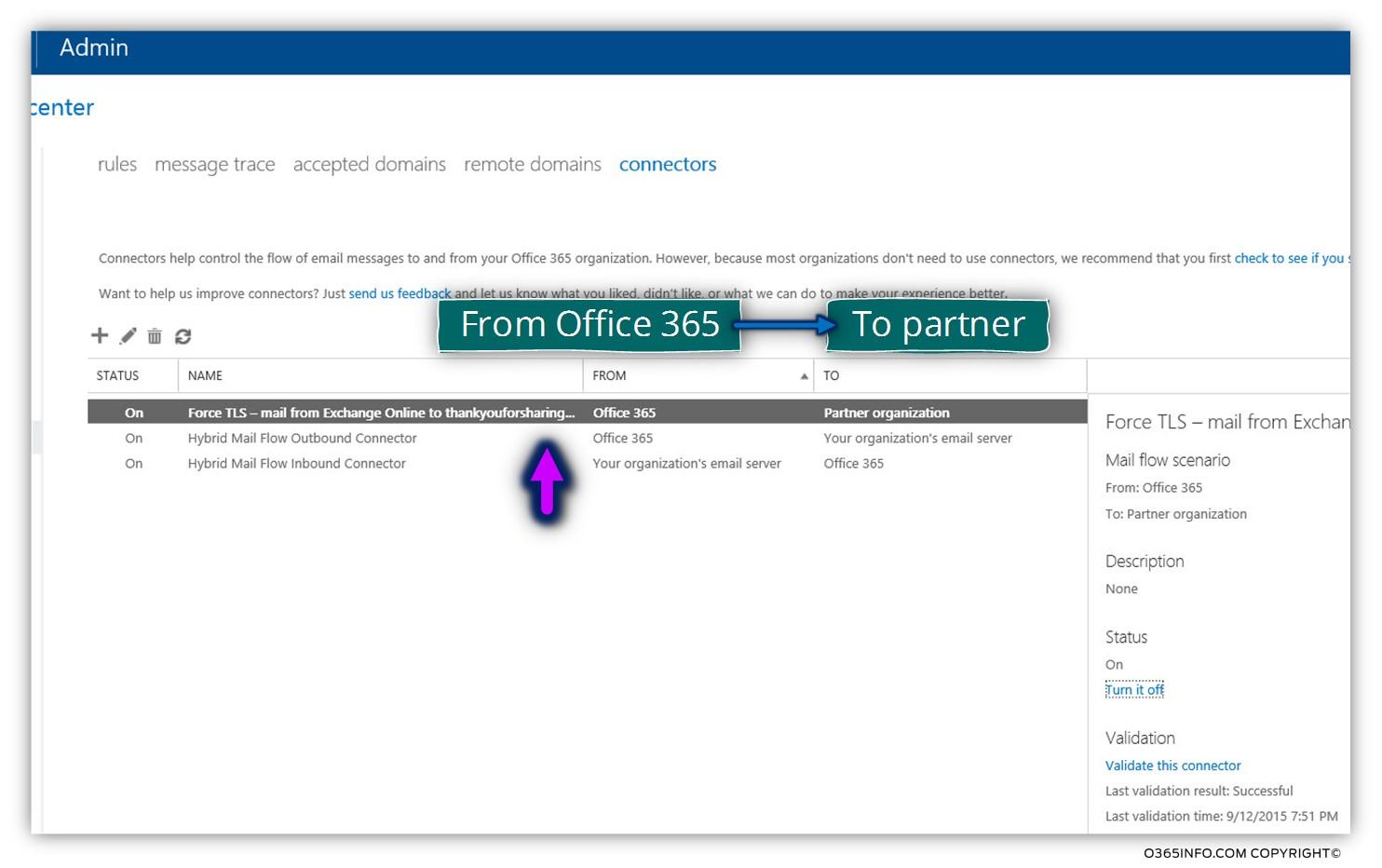 Creating a custom force TLS - Exchange Online send connector -11