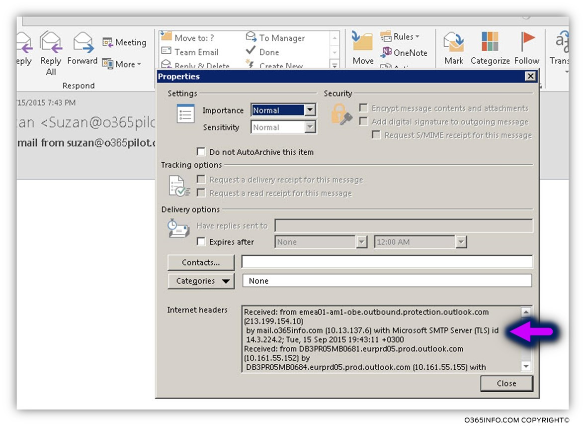 Read mail headers - using Outlook -03
