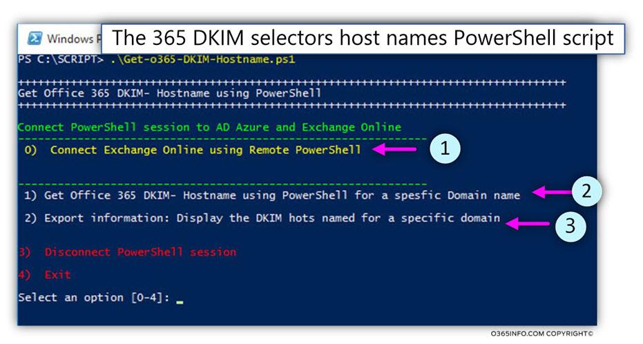 The 365 DKIM selectors record PowerShell script - 1