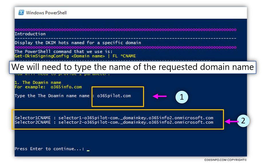 The 365 DKIM selectors record PowerShell script - 2