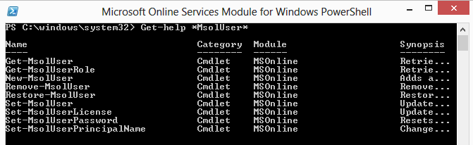 Get-Help MsolUser #0A