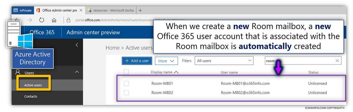 Restore Office 365 Room mailbox – scenario description -02