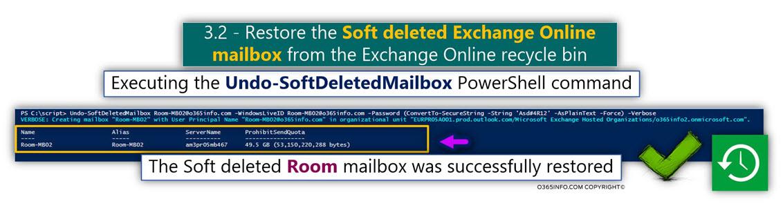 Restore the Soft deleted Exchange Online Room mailbox using PowerShell - Undo-SoftDeletedMailbox -02