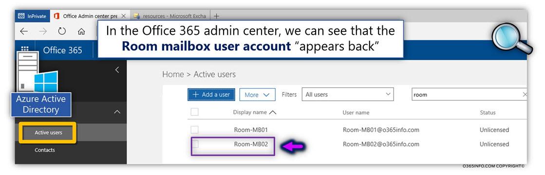 Restore the Soft deleted Exchange Online Room mailbox using PowerShell - Undo-SoftDeletedMailbox -04