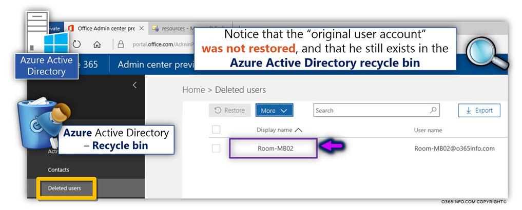 Restore the Soft deleted Exchange Online Room mailbox using PowerShell - Undo-SoftDeletedMailbox -05