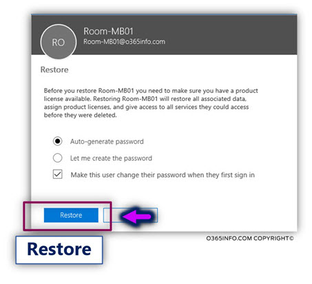 Restore the Soft deleted Exchange Online Shared mailbox - restoring the Office 365 user account -03