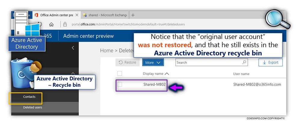 Restore the Soft deleted Exchange Online Shared mailbox using PowerShell - Undo-SoftDeletedMailbox -04