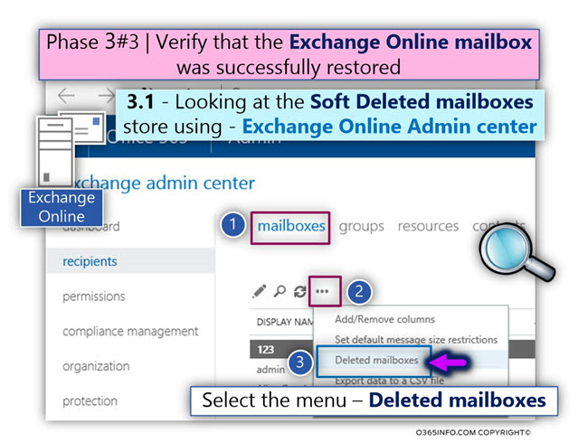 Verifying that the Exchange Online was successfully restored -01