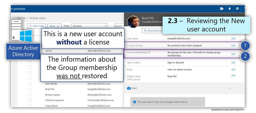 Restore the Soft deleted Exchange Online user mailbox using PowerShell - Undo-SoftDeletedMailbox -03