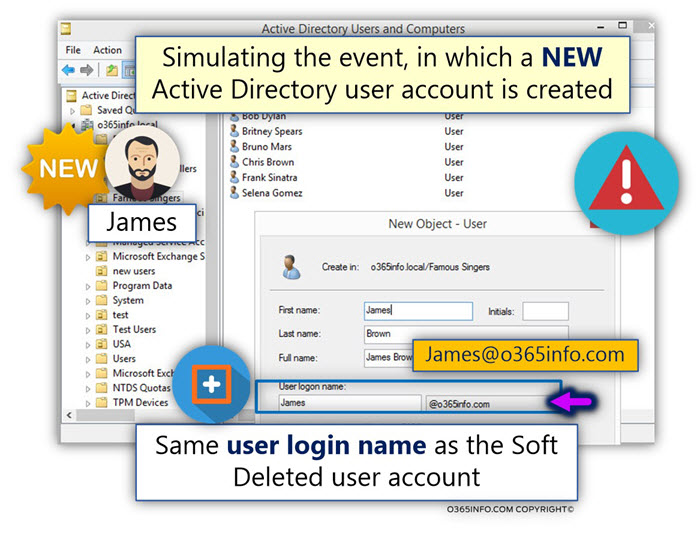 Simulating the event in which a NEW Active Directory user account is created -01