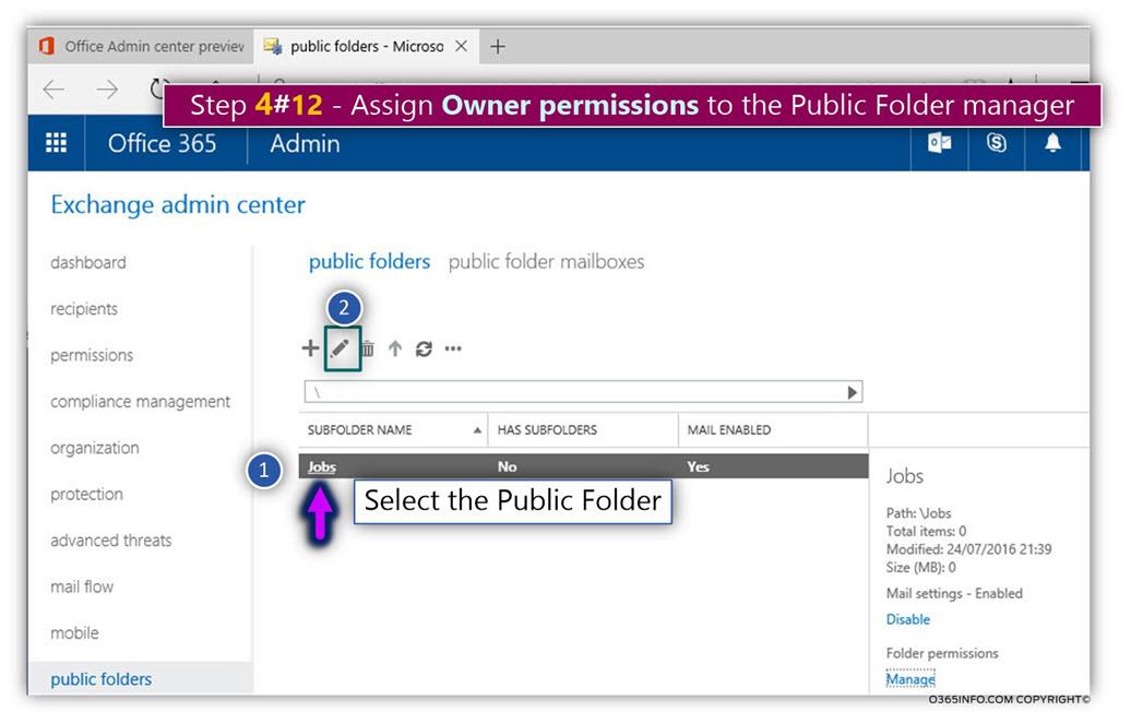 Add Public Folder permissions Exchange Online -01