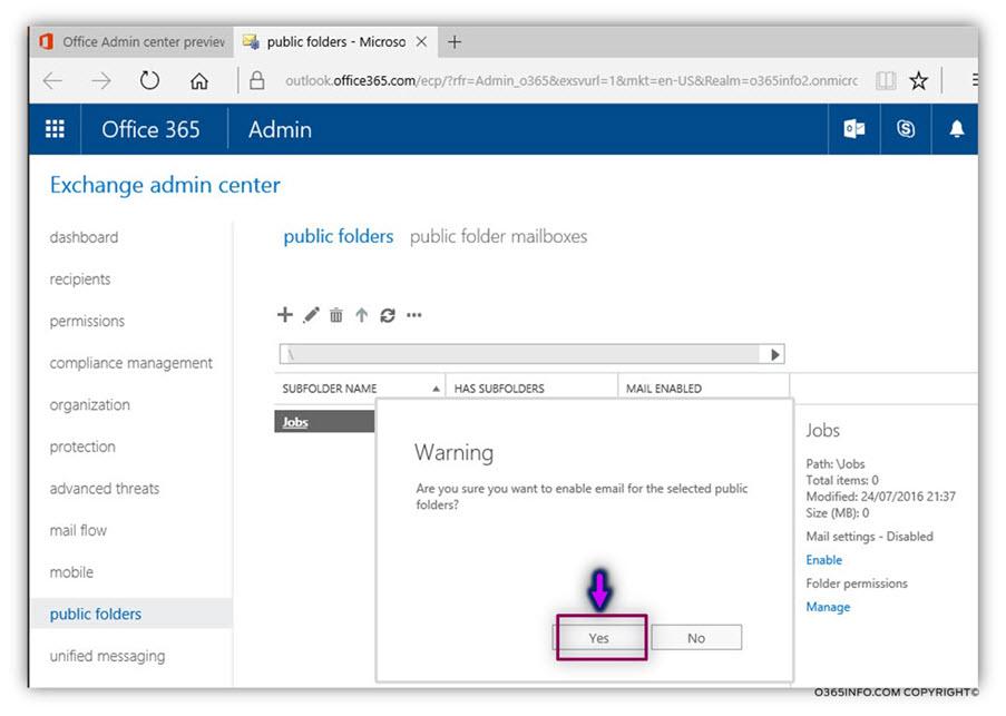 Configure Exchange Online Public Folder as mail enabled – 02