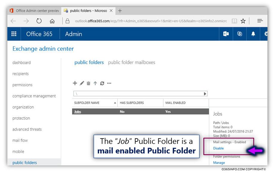 Configure Exchange Online Public Folder as mail enabled – 03