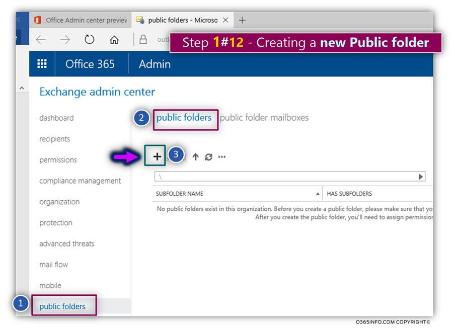 Creating new Public Folder – Exchange Online -01