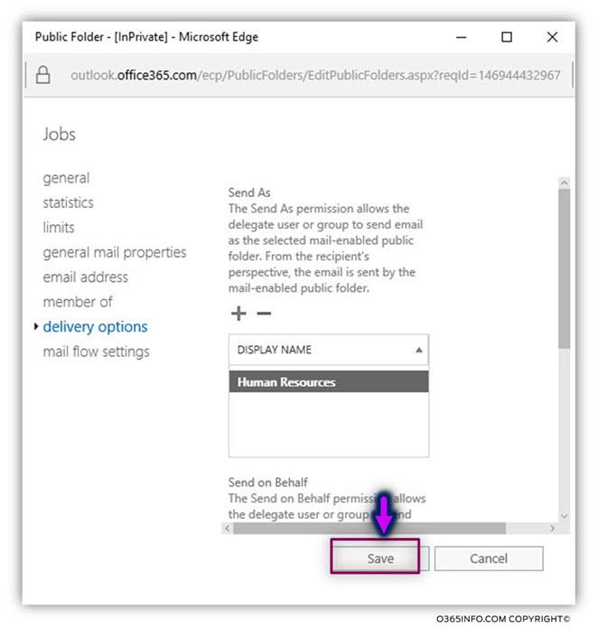 Assign Send As permissions to a Public Folder Exchange Online -04