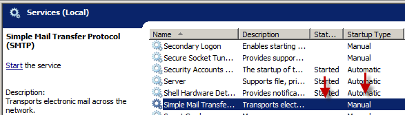 Installing IIS SMTP windows 2008 server - Change service statous -02